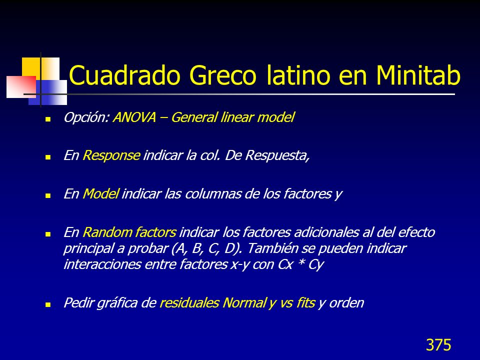 375 Cuadrado Greco latino en Minitab Opción: ANOVA – General linear model En Response indicar la col. De Respuesta, En Model indicar las columnas de l