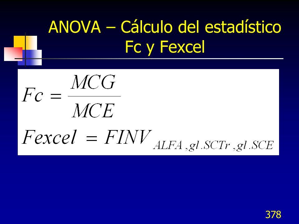 378 ANOVA – Cálculo del estadístico Fc y Fexcel