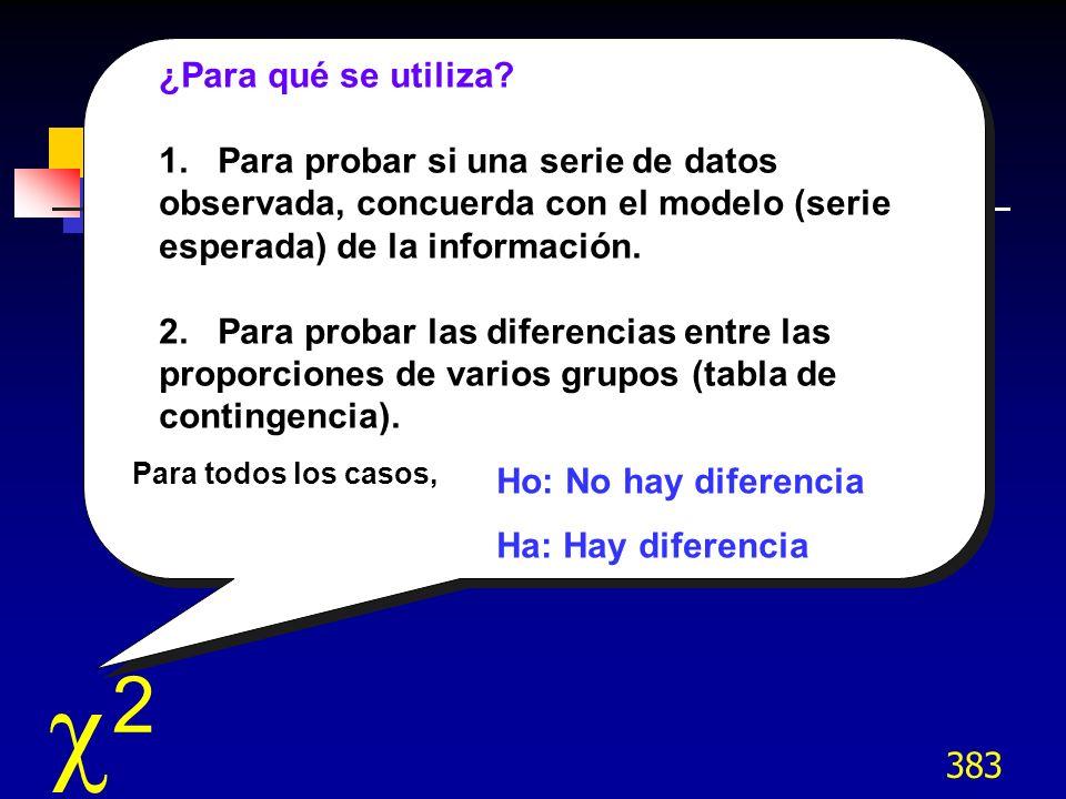 383 ¿Para qué se utiliza? 1. Para probar si una serie de datos observada, concuerda con el modelo (serie esperada) de la información. 2. Para probar l