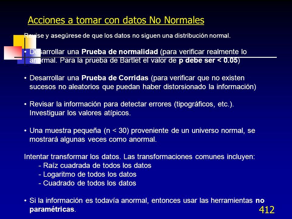 412 Revise y asegúrese de que los datos no siguen una distribución normal. Desarrollar una Prueba de normalidad (para verificar realmente lo anormal.