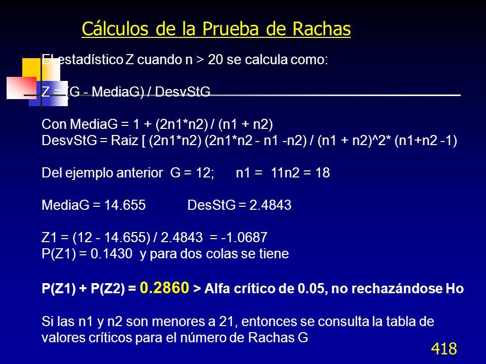 418 Cálculos de la Prueba de Rachas El estadístico Z cuando n > 20 se calcula como: Z = (G - MediaG) / DesvStG Con MediaG = 1 + (2n1*n2) / (n1 + n2) D