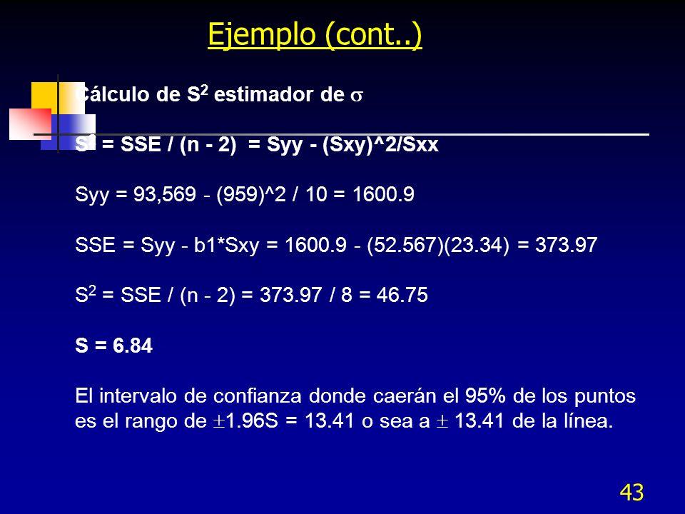 43 Ejemplo (cont..) Cálculo de S 2 estimador de S 2 = SSE / (n - 2) = Syy - (Sxy)^2/Sxx Syy = 93,569 - (959)^2 / 10 = 1600.9 SSE = Syy - b1*Sxy = 1600