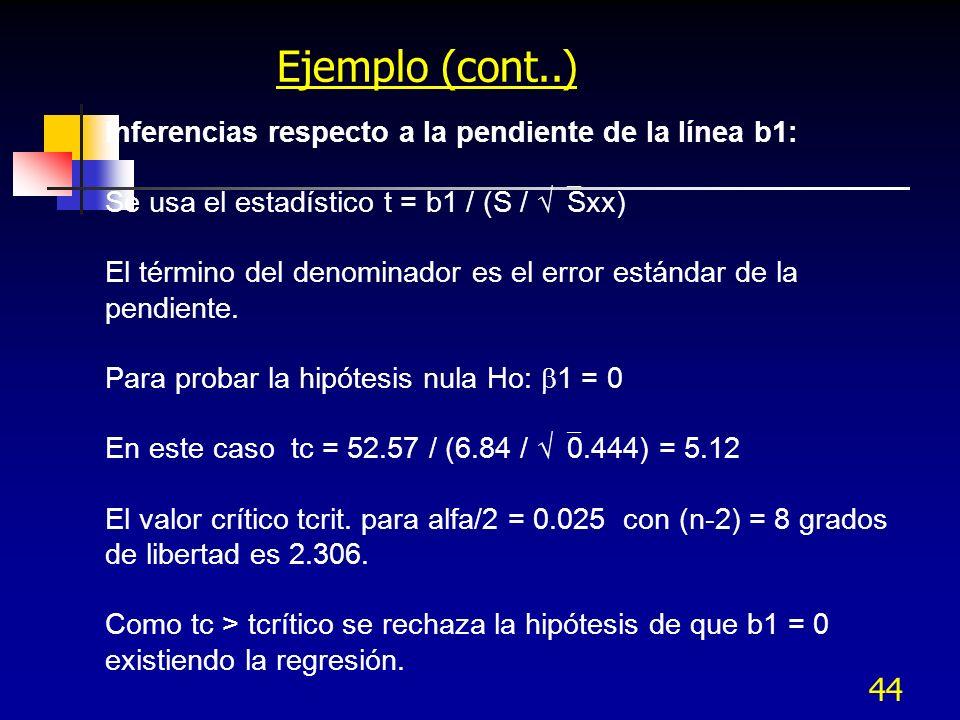 44 Ejemplo (cont..) Inferencias respecto a la pendiente de la línea b1: Se usa el estadístico t = b1 / (S / Sxx) El término del denominador es el erro
