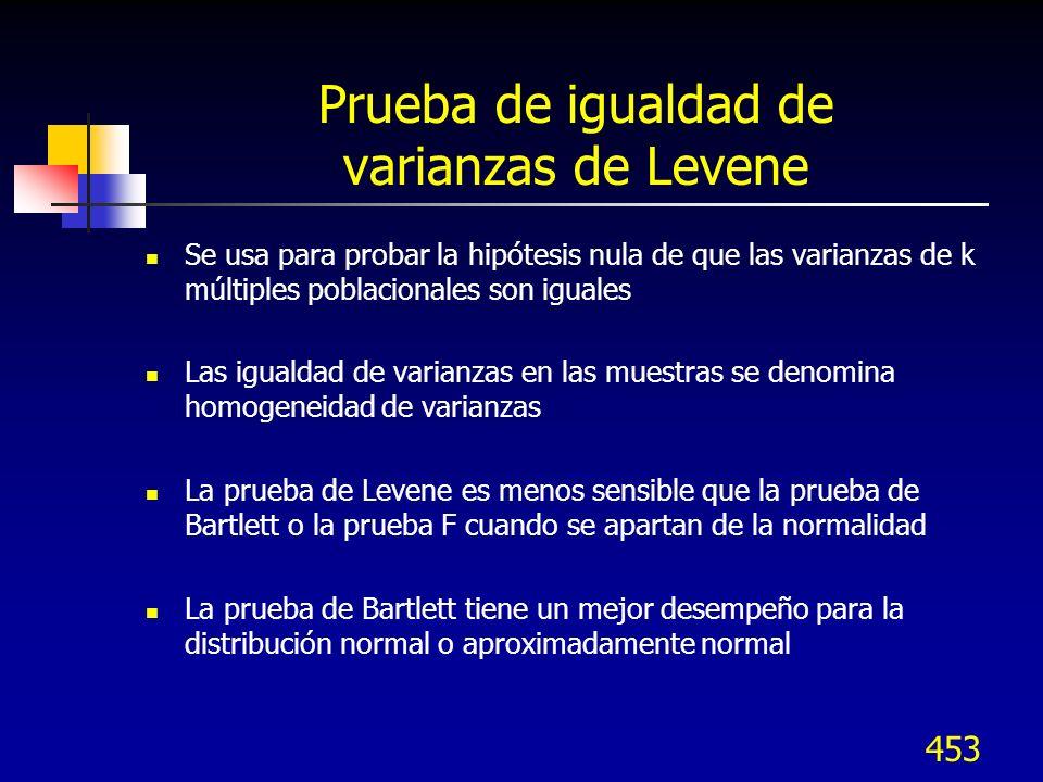 453 Prueba de igualdad de varianzas de Levene Se usa para probar la hipótesis nula de que las varianzas de k múltiples poblacionales son iguales Las i
