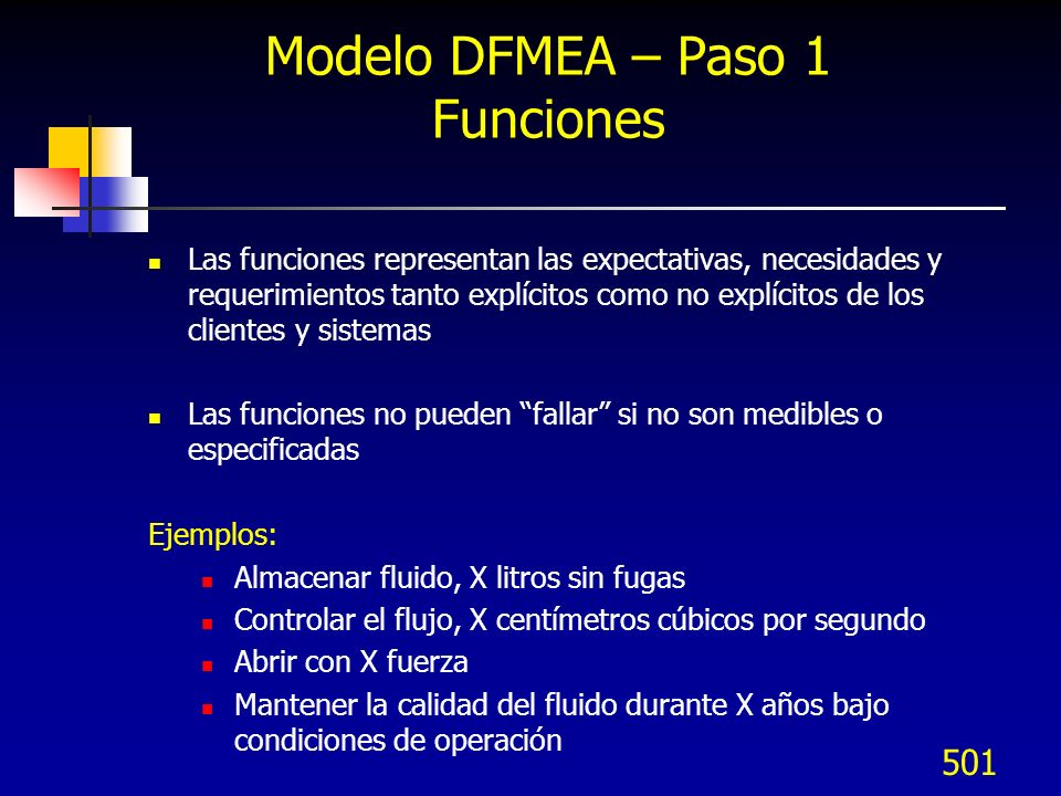 501 Modelo DFMEA – Paso 1 Funciones Las funciones representan las expectativas, necesidades y requerimientos tanto explícitos como no explícitos de los clientes y sistemas Las funciones no pueden fallar si no son medibles o especificadas Ejemplos: Almacenar fluido, X litros sin fugas Controlar el flujo, X centímetros cúbicos por segundo Abrir con X fuerza Mantener la calidad del fluido durante X años bajo condiciones de operación