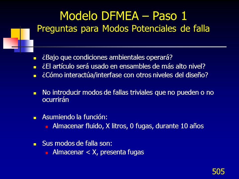 506 Modelo DFMEA – Paso 1 Efectos Potenciales de falla Se definen como los efectos del modo de falla en la función percibida por el cliente.