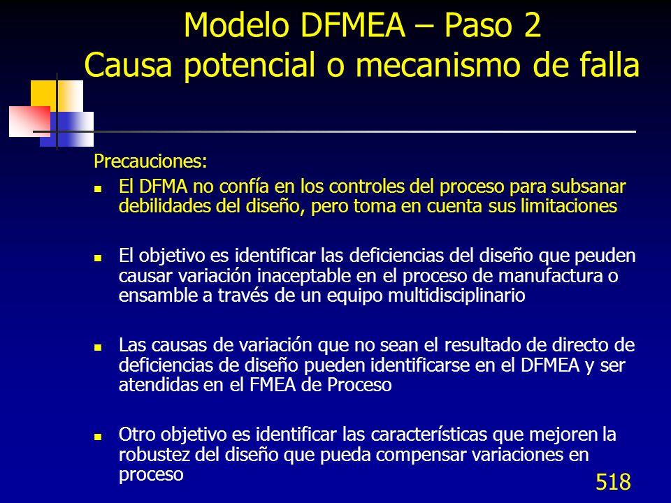 519 Modelo DFMEA – Paso 2 Ocurrencia Ocurrencia es la probabilidad de que una causa/mecanismo (listado en la columna previa) ocurra durante la vida del diseño El rango de ocurrencia tiene un significado relativo más que sea absoluto La prevención o control de las Causas / Mecanismos del modo de falla se realiza a través de cambios de diseño o cambios de diseño del proceso para reducir la ocurrencia