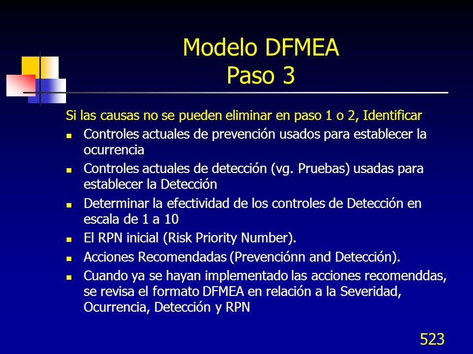 524 Modelo DFMEA – Paso 3 Controles de diseño actuales Listar las actividades terminadas para prevención, vaidación/verificación del diseño (DV), u otras actividades que aseguran la adecuación del diseño para el modo de falla y/o causa / mecanismo bajo consideración Controles actuales (vg.