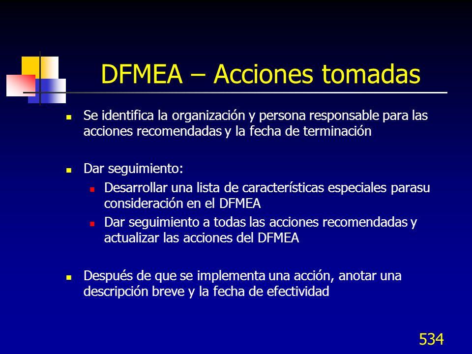 535 DFMEA – Nivel de riesgo RPN Después de haber implementado las acciones preventivas/correctivas, registrar la nueva Severidad, Ocurrencia y Detección Calcular el nuevo RPN Si no se tomaron acciones en algunos aspectos, dejarlos en blanco