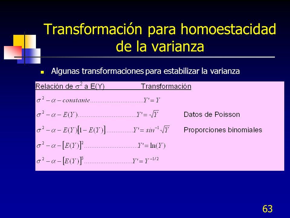 63 Transformación para homoestacidad de la varianza Algunas transformaciones para estabilizar la varianza