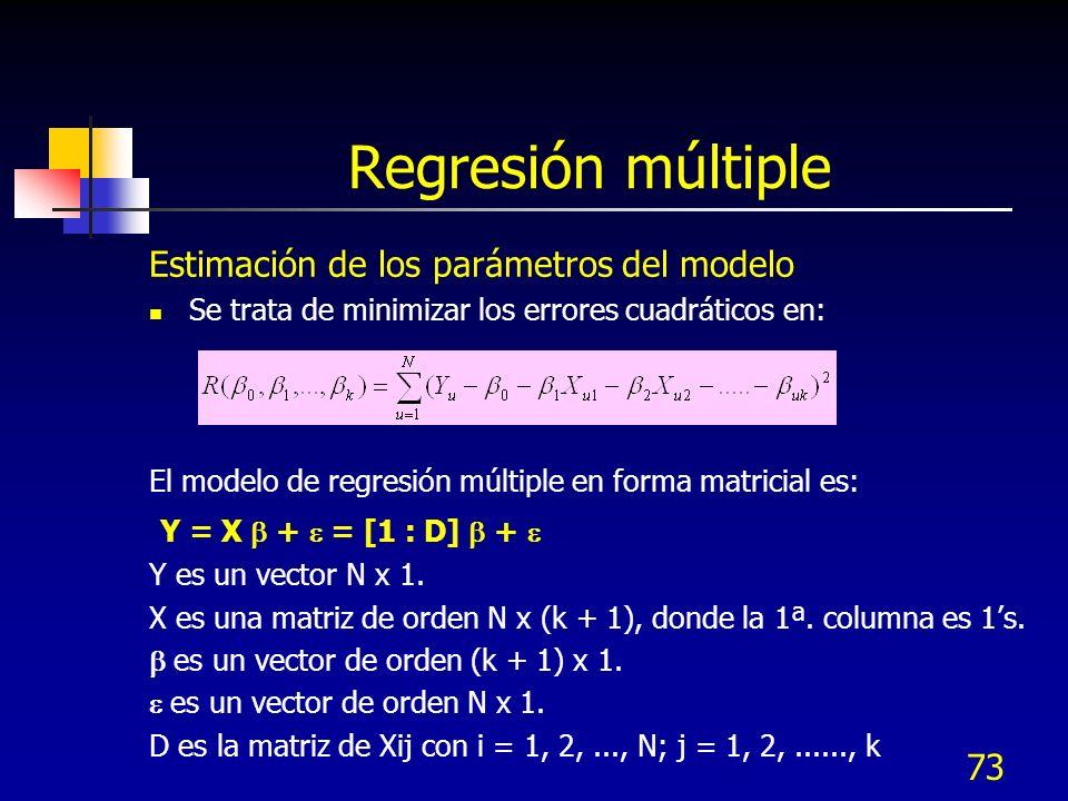73 Regresión múltiple Estimación de los parámetros del modelo Se trata de minimizar los errores cuadráticos en: El modelo de regresión múltiple en for