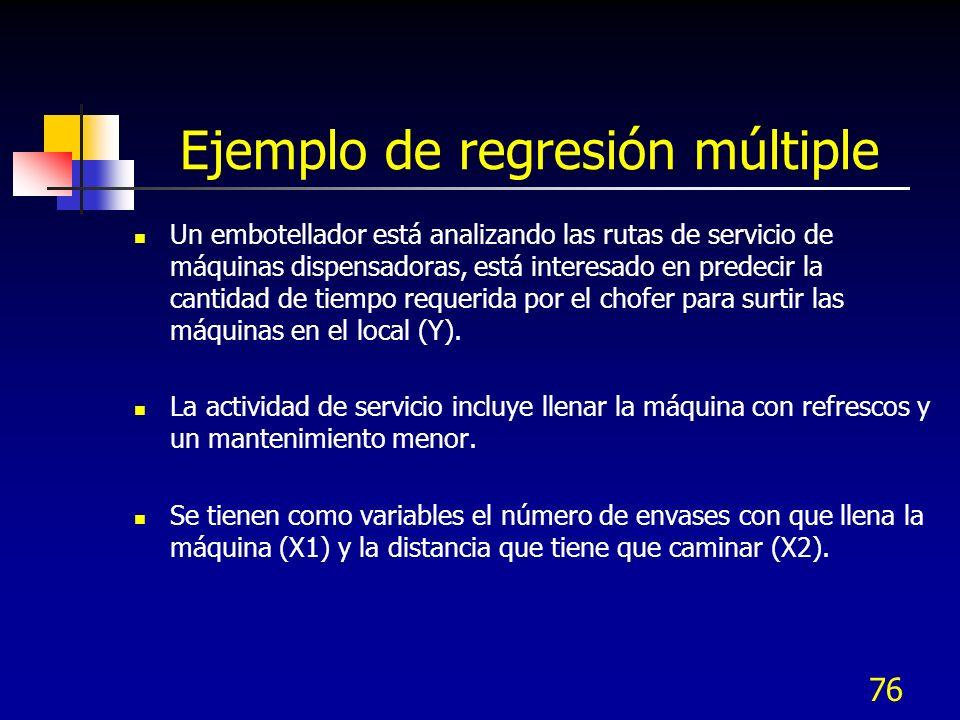 76 Ejemplo de regresión múltiple Un embotellador está analizando las rutas de servicio de máquinas dispensadoras, está interesado en predecir la canti