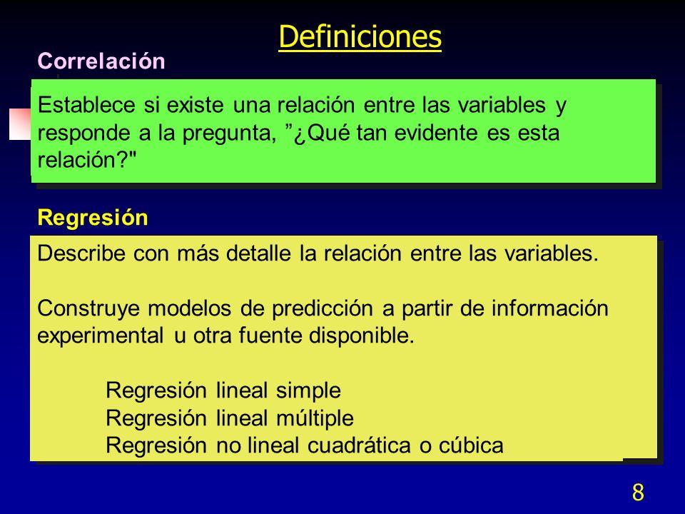 8 Definiciones Correlación Establece si existe una relación entre las variables y responde a la pregunta, ¿Qué tan evidente es esta relación?