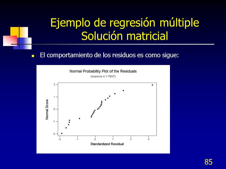 85 Ejemplo de regresión múltiple Solución matricial El comportamiento de los residuos es como sigue:
