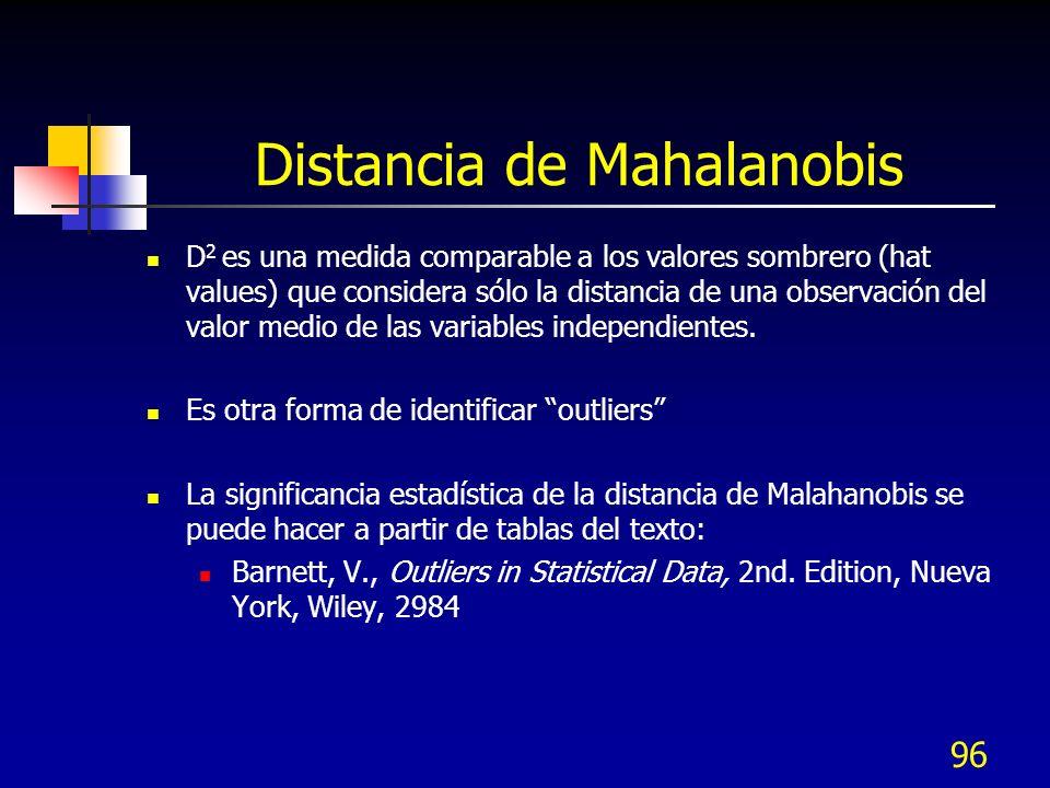 96 Distancia de Mahalanobis D 2 es una medida comparable a los valores sombrero (hat values) que considera sólo la distancia de una observación del va