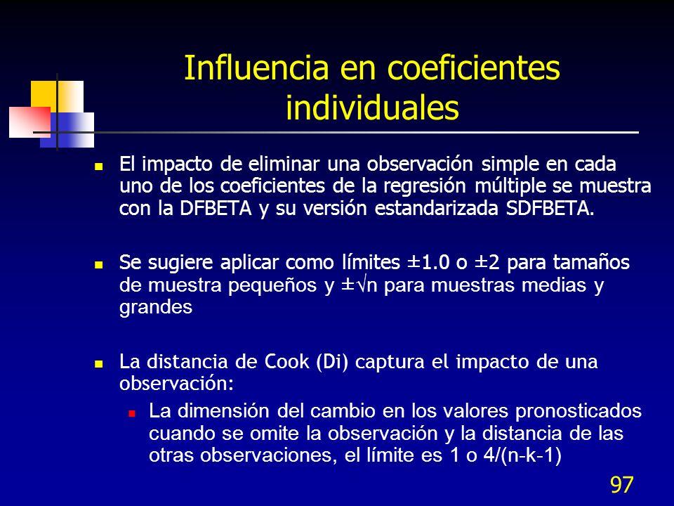 97 Influencia en coeficientes individuales El impacto de eliminar una observación simple en cada uno de los coeficientes de la regresión múltiple se m