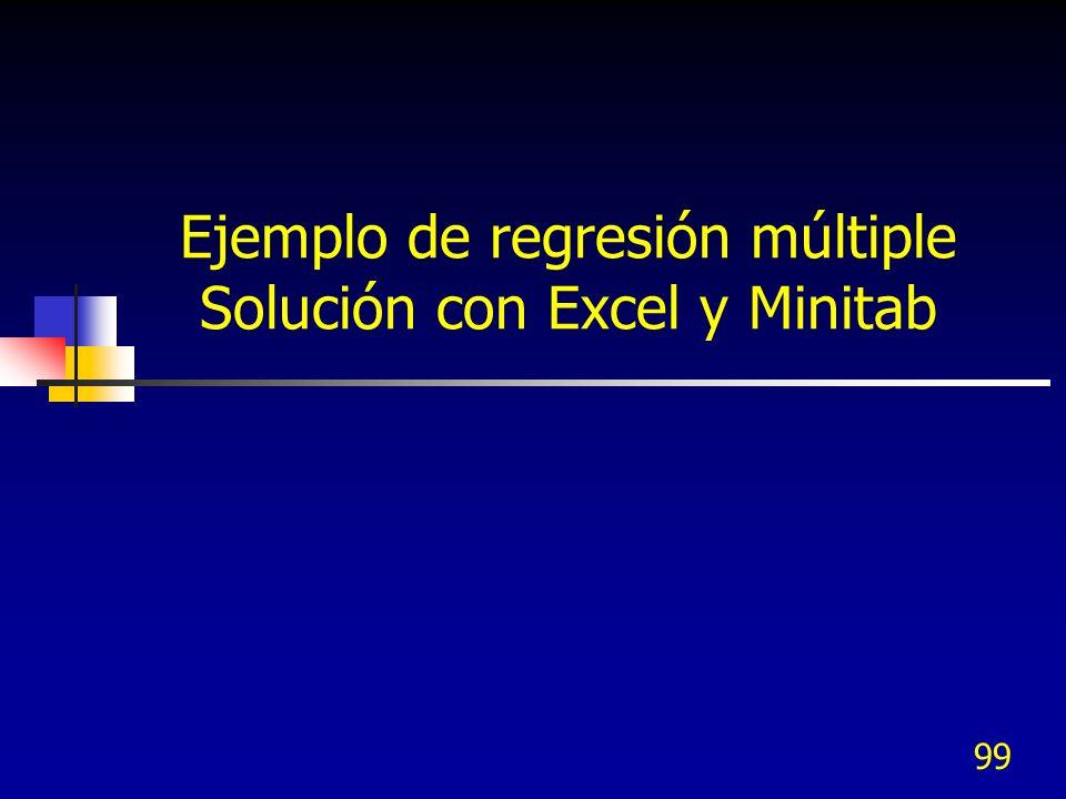 99 Ejemplo de regresión múltiple Solución con Excel y Minitab