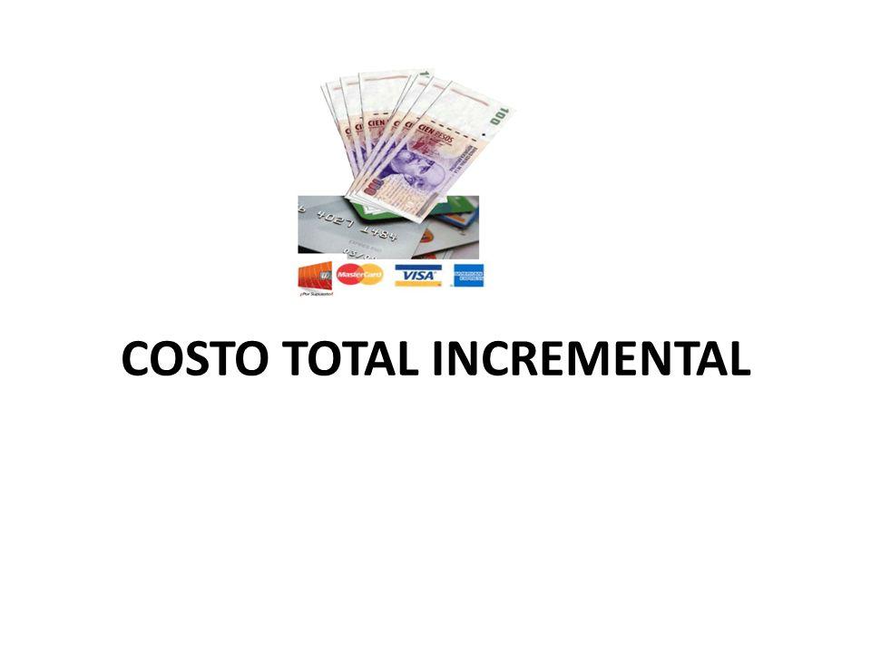 EL COSTO TOTAL INCREMENTAL Es la suma de adquisición y del costo propio del inventario, se da mediante la siguiente formula: Costo total incremental TI= Q C + R S 2 Q Para demostrar la forma en que estos costos están relacionados en total, se presenta la siguiente tabla en cifras supuestas para el sig.