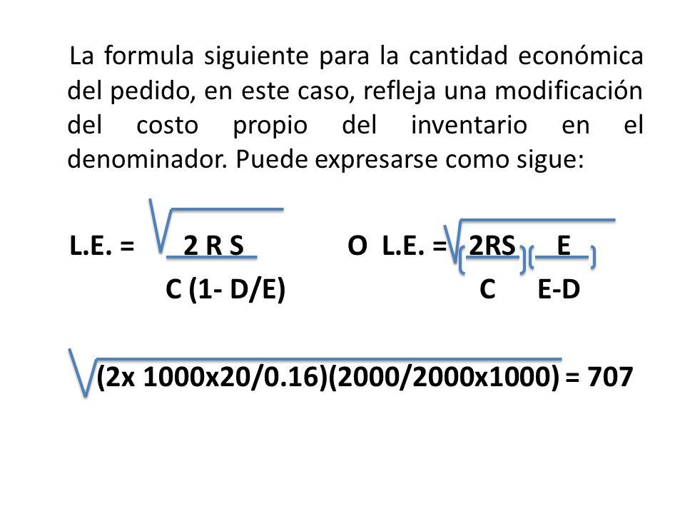 COMPARANDO EL MODELO BÁSICO DEL LE Y EL MODIFICADO, TENEMOS: R = 1000 unidades S = $20.00 por pedido C = $0.16 por unidad por año E = 2000 unidades D =1000 unidades por año