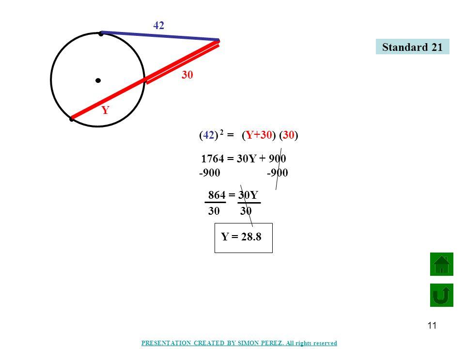 11 42 30 Y (Y+30) (30) (42) = 2 1764 = 30Y + 900 -900 864 = 30Y 30 Y = 28.8 Standard 21 PRESENTATION CREATED BY SIMON PEREZ. All rights reserved