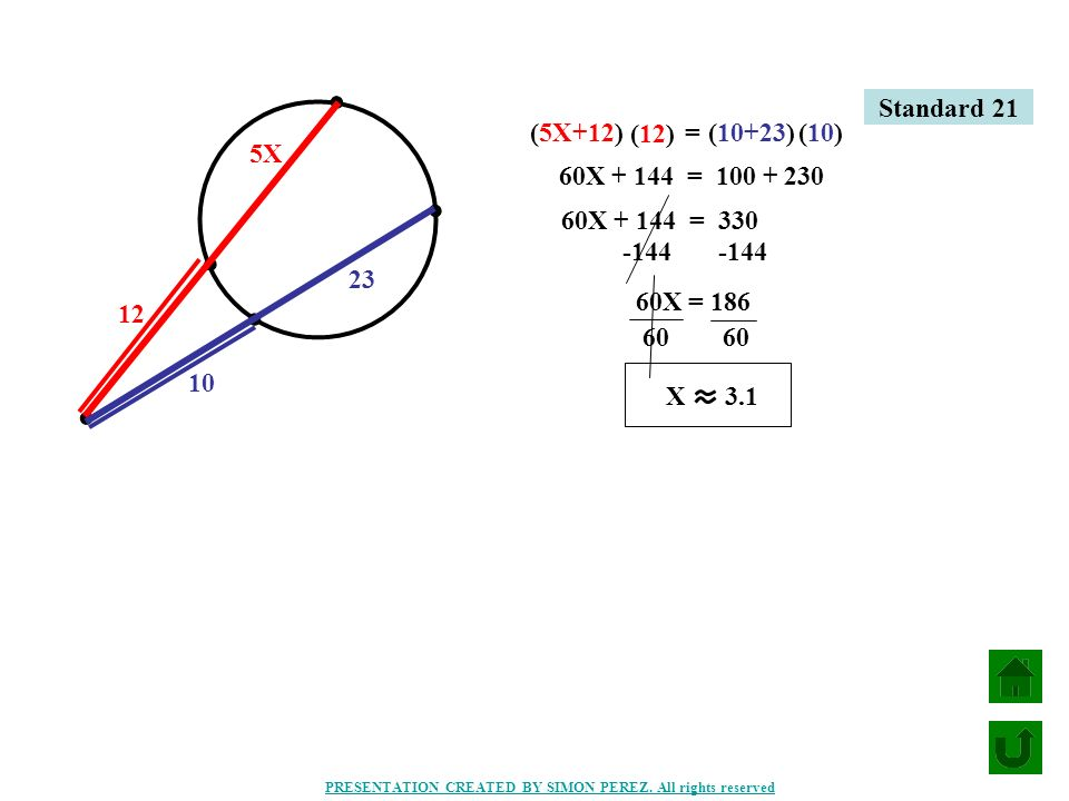 7 5X 12 10 23 (5X+12) (12) = (10+23) (10) 60X + 144 = 100 + 230 60X + 144 = 330 -144 60X = 186 60 X 3.1 Standard 21 PRESENTATION CREATED BY SIMON PERE