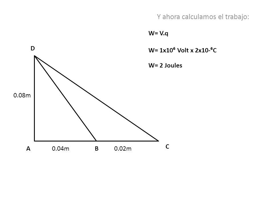 0.08m 0.04m0.02mAB C D Y ahora calculamos el trabajo: W= V.q W= 1x10 Volt x 2x10-C W= 2 Joules