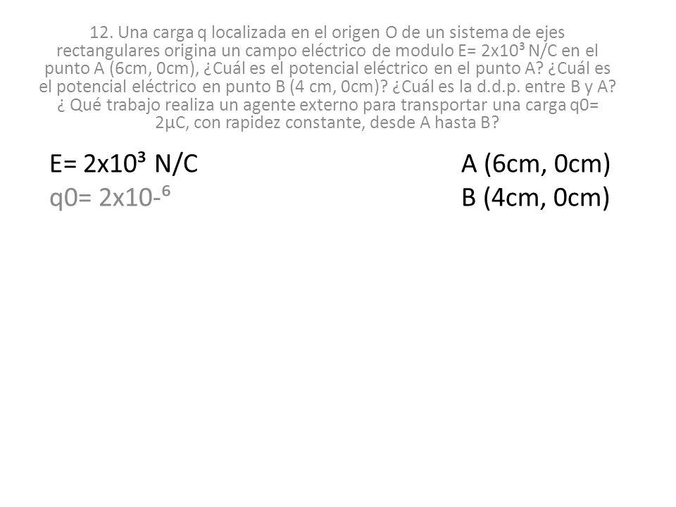 12. Una carga q localizada en el origen O de un sistema de ejes rectangulares origina un campo eléctrico de modulo E= 2x10³ N/C en el punto A (6cm, 0c