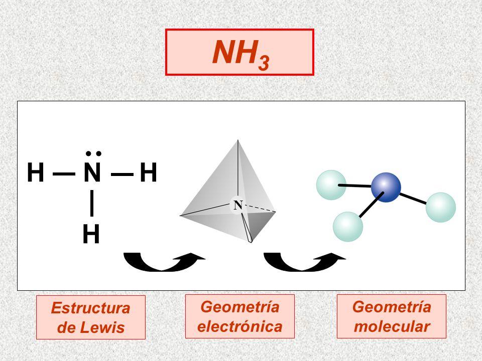 NH 3 N H N H H : Estructura de Lewis Geometría electrónica Geometría molecular