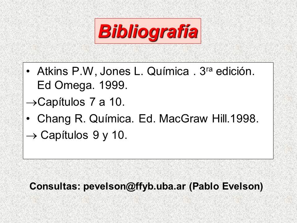Atkins P.W, Jones L.Química. 3 ra edición. Ed Omega.