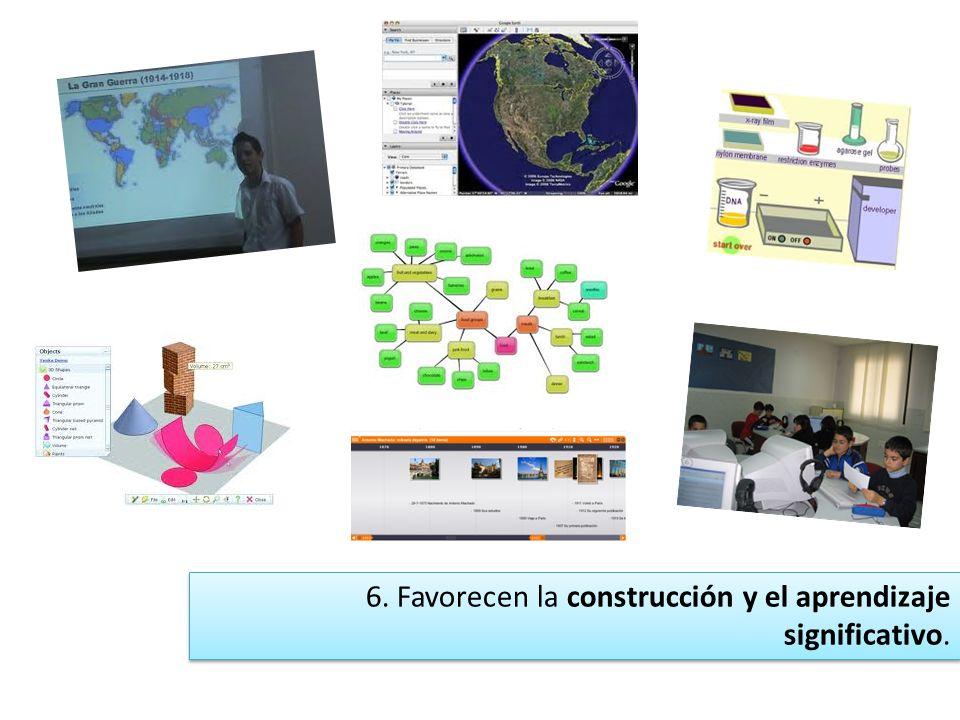 5. Potencian un modelo de aprendizaje no tan centrado en el profesor, sino desplazado hacia el alumno.
