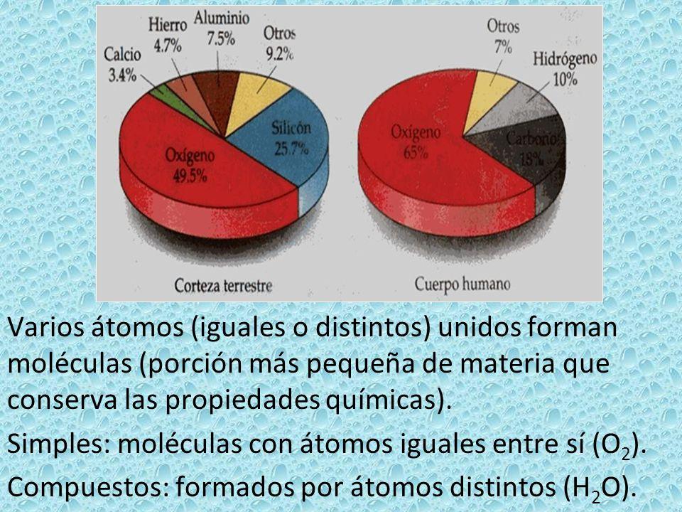 Varios átomos (iguales o distintos) unidos forman moléculas (porción más pequeña de materia que conserva las propiedades químicas). Simples: moléculas