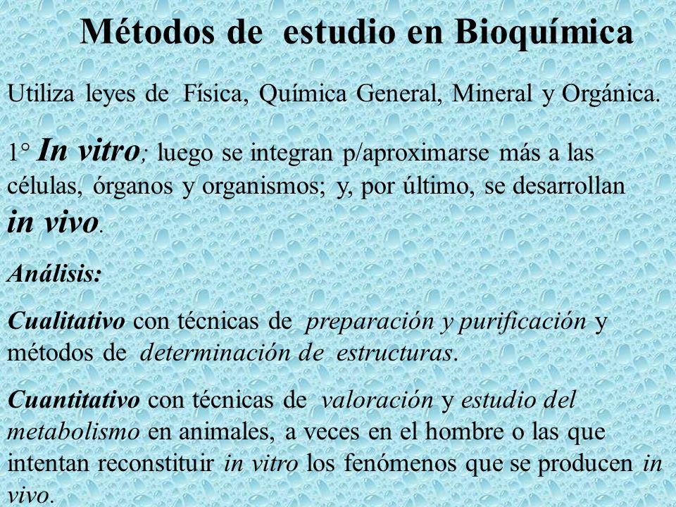 Métodos de estudio en Bioquímica Utiliza leyes de Física, Química General, Mineral y Orgánica. 1° In vitro ; luego se integran p/aproximarse más a las