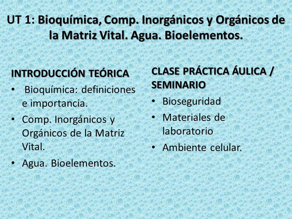 Bioquímica, Comp. Inorgánicos y Orgánicos de la Matriz Vital. Agua. Bioelementos. UT 1: Bioquímica, Comp. Inorgánicos y Orgánicos de la Matriz Vital.