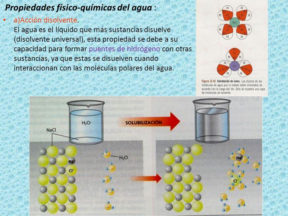 Propiedades físico-químicas del agua : a)Acción disolvente. El agua es el líquido que más sustancias disuelve (disolvente universal), esta propiedad s