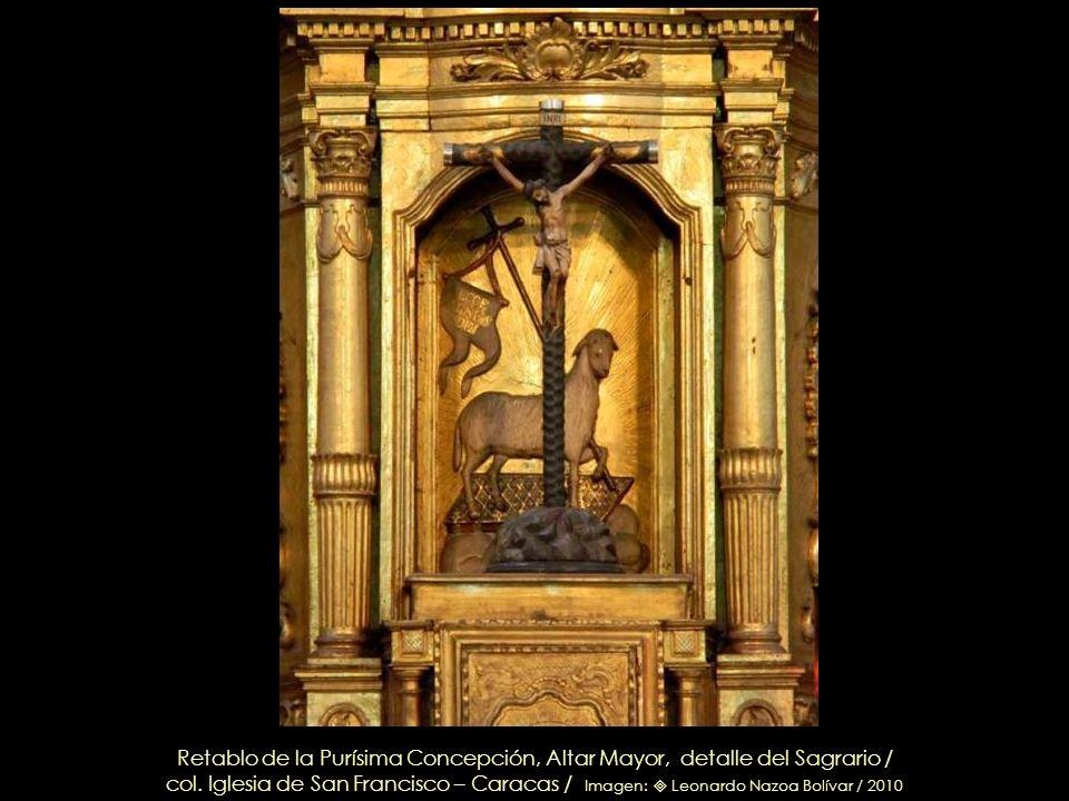 San Miguel Arcángel, talla en cedro, dorado y policromado – Circa 1762 / Detalle del Sagrario Altar Mayor / col. Iglesia de San Francisco – Caracas /