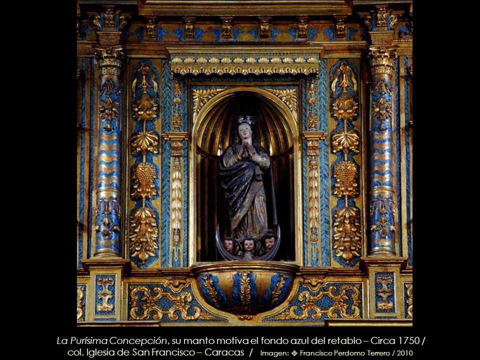 Retablo de la Purísima Concepción, Altar Mayor (Detalle) – Imágenes: en el nicho principal, La Purísima Concepción. A la izq. San José con el Niño Jes
