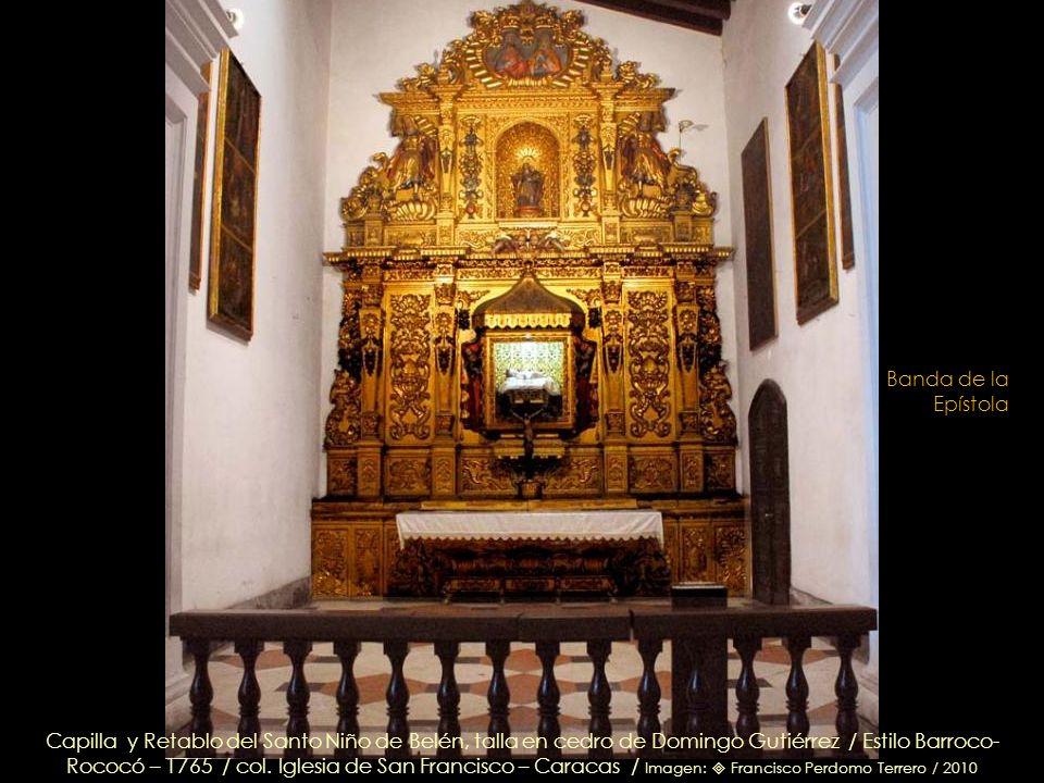 La Purísima Concepción, su manto motiva el fondo azul del retablo – Circa 1750 / col. Iglesia de San Francisco – Caracas / Imagen: Francisco Perdomo T