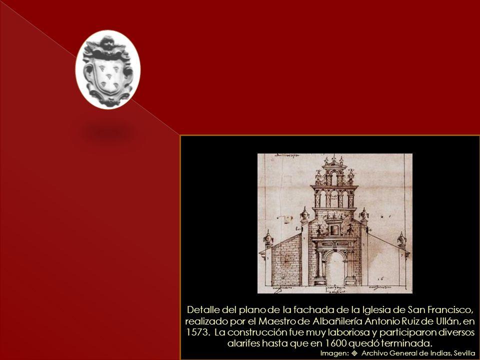 Detalle del primer plano de Caracas de 1578. Acompañó la Relación que Juan de Pimentel envío al rey Felipe III. Se aprecia claramente la ubicación del