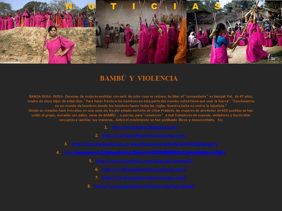 BANDA ROSA. INDIA - Docenas de mujeres vestidas con saris de color rosa se reúnen. Su líder el