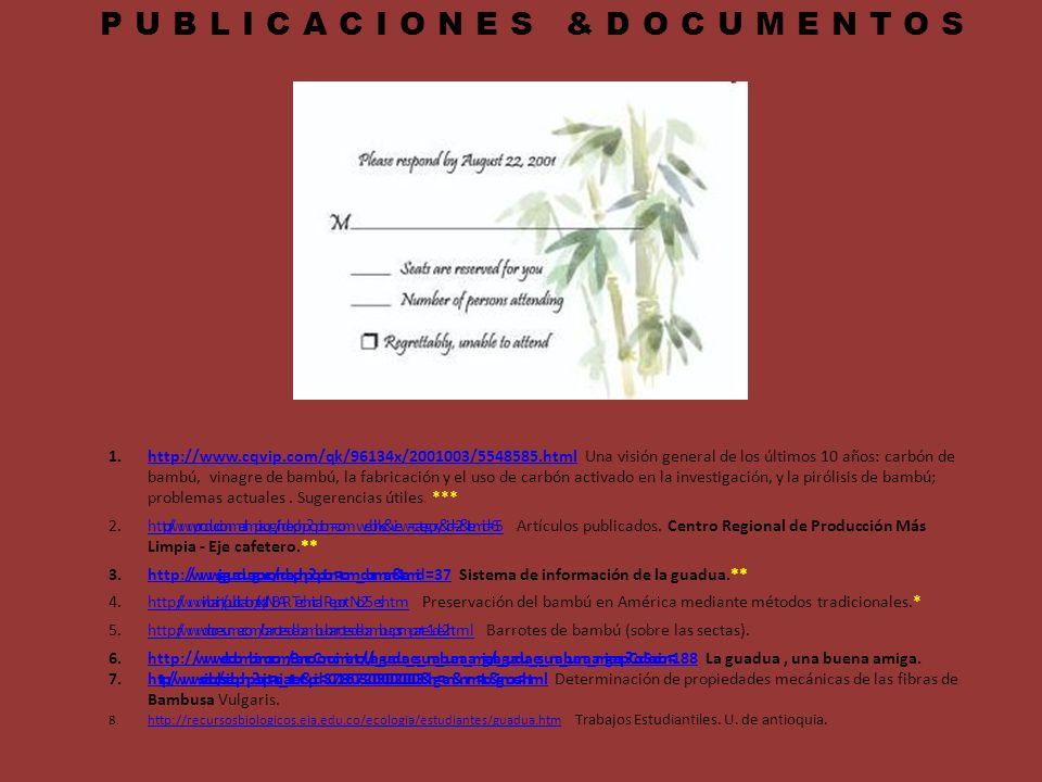 PUBLICACIONES &DOCUMENTOS 1.http://www.cqvip.com/qk/96134x/2001003/5548585.html Una visión general de los últimos 10 años: carbón de bambú, vinagre de
