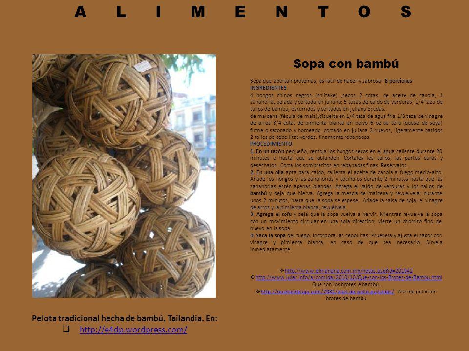 ALIMENTOS Sopa con bambú Sopa que aportan proteínas, es fácil de hacer y sabrosa - 8 porciones INGREDIENTES 4 hongos chinos negros (shiitake) ;secos 2