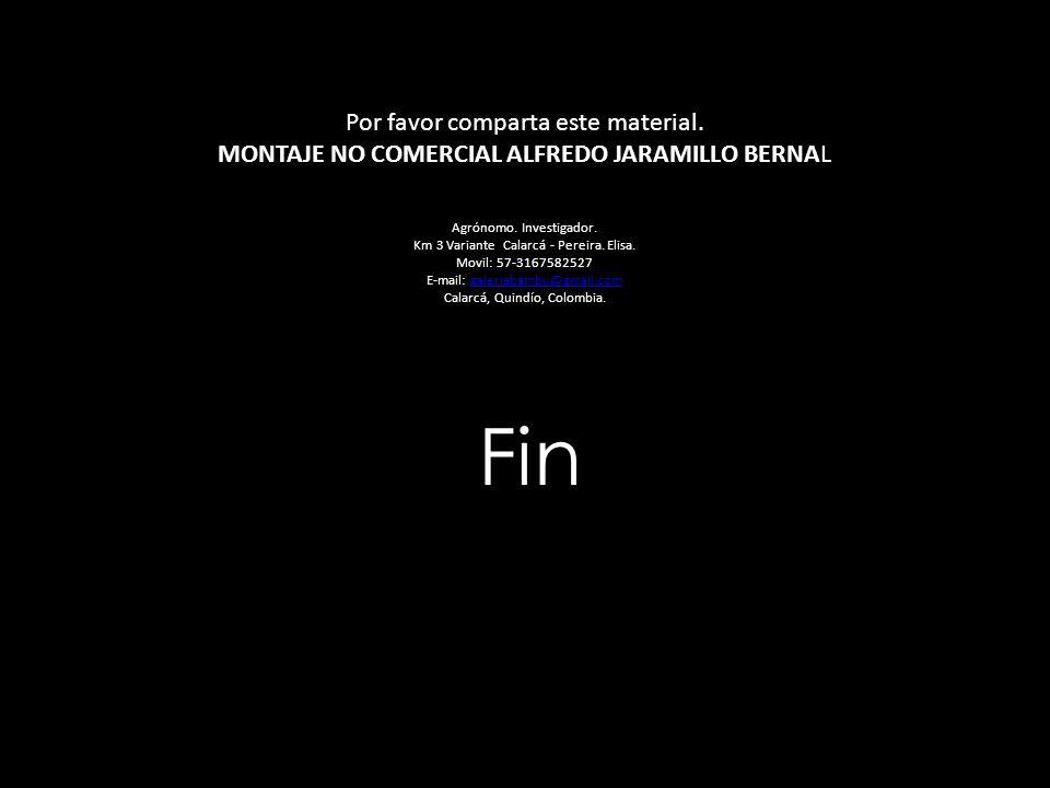 Fin Por favor comparta este material. MONTAJE NO COMERCIAL ALFREDO JARAMILLO BERNAL Agrónomo. Investigador. Km 3 Variante Calarcá - Pereira. Elisa. Mo