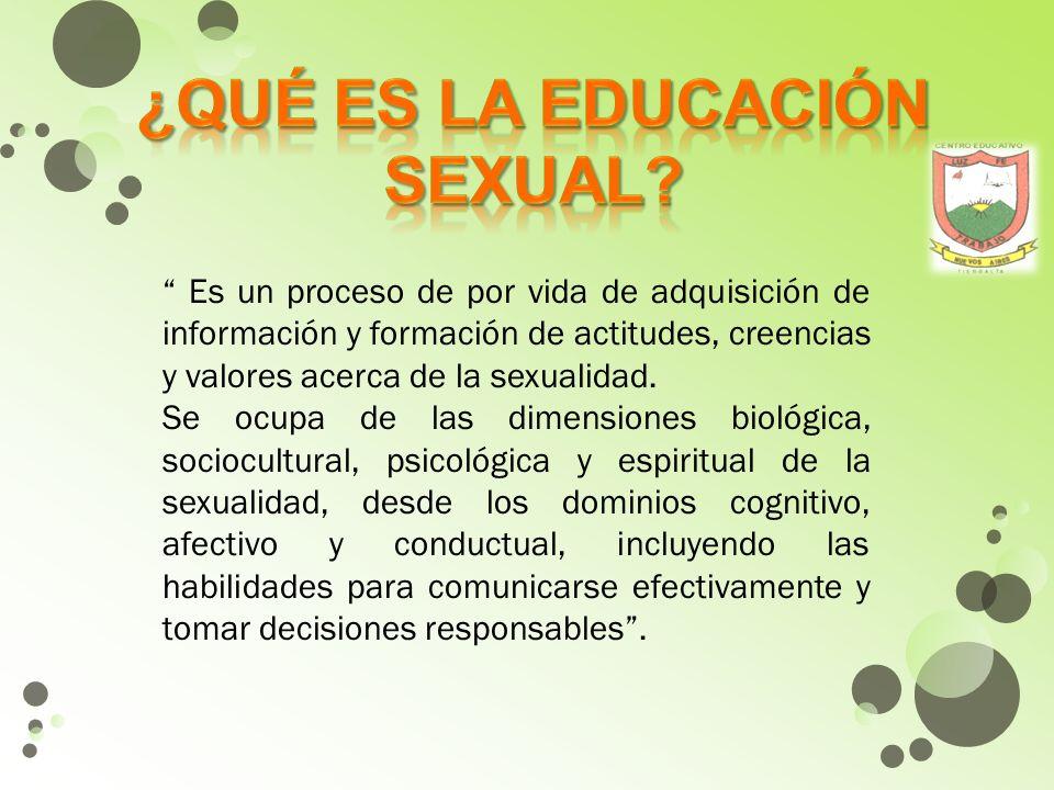 El aprendizaje de la sexualidad se da desde el nacimiento hasta la muerte.
