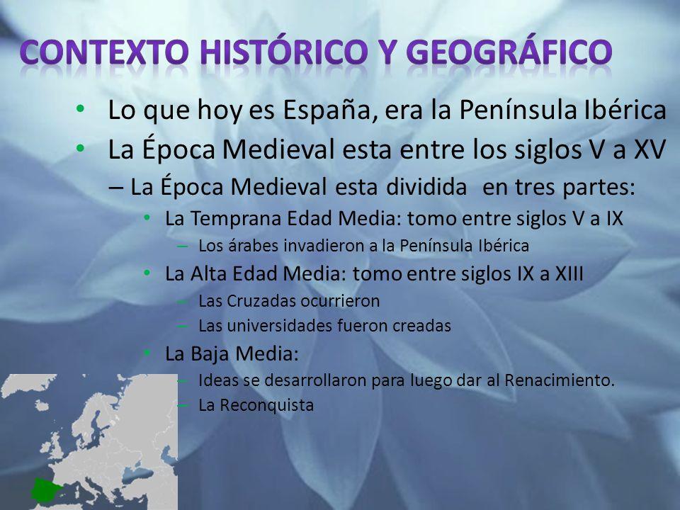 Lo que hoy es España, era la Península Ibérica La Época Medieval esta entre los siglos V a XV – La Época Medieval esta dividida en tres partes: La Tem