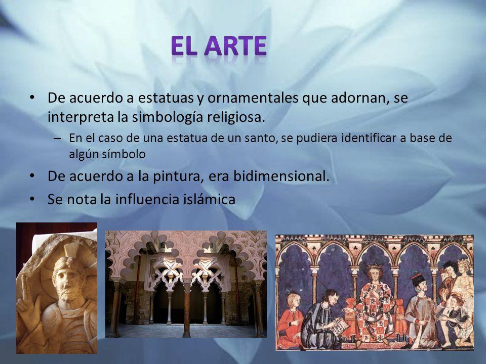 De acuerdo a estatuas y ornamentales que adornan, se interpreta la simbología religiosa. – En el caso de una estatua de un santo, se pudiera identific