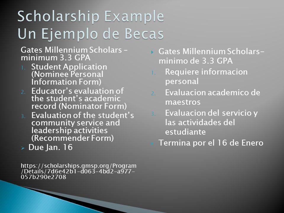 Gates Millennium Scholars – minimum 3.3 GPA 1. Student Application (Nominee Personal Information Form) 2. Educators evaluation of the students academi