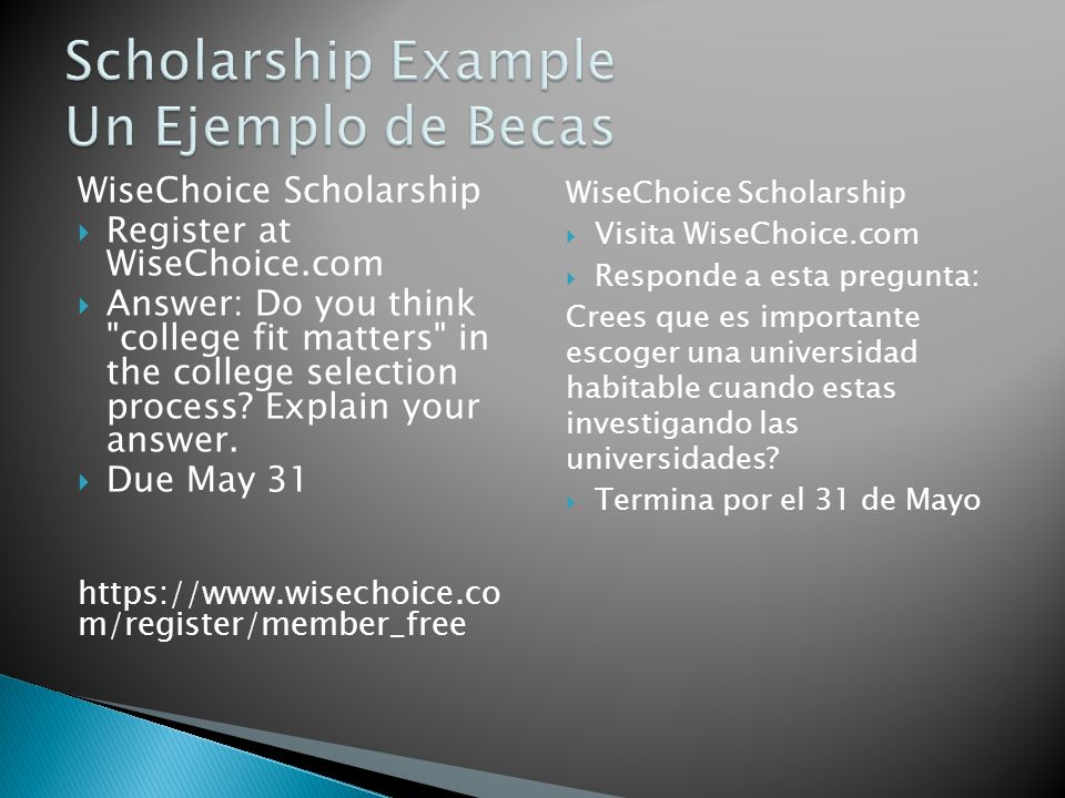 WiseChoice Scholarship Register at WiseChoice.com Answer: Do you think college fit matters in the college selection process.