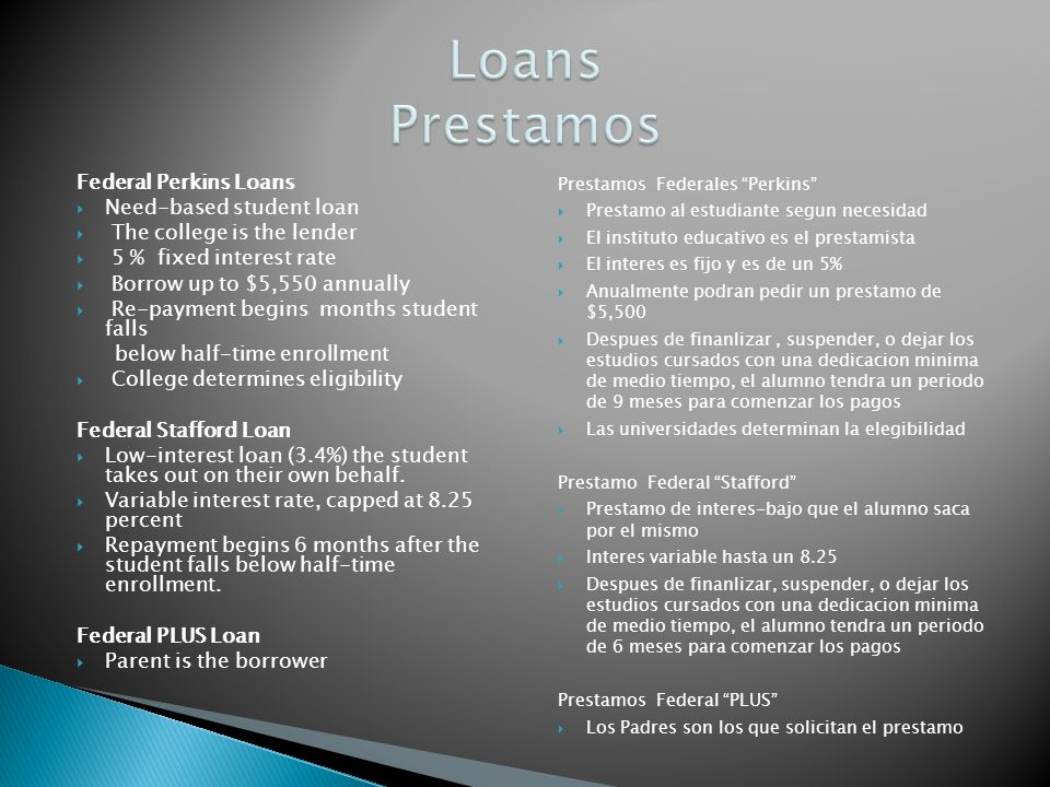 Federal Perkins Loans Need-based student loan The college is the lender 5 % fixed interest rate Borrow up to $5,550 annually Re-payment begins months student falls below half-time enrollment College determines eligibility Federal Stafford Loan Low-interest loan (3.4%) the student takes out on their own behalf.