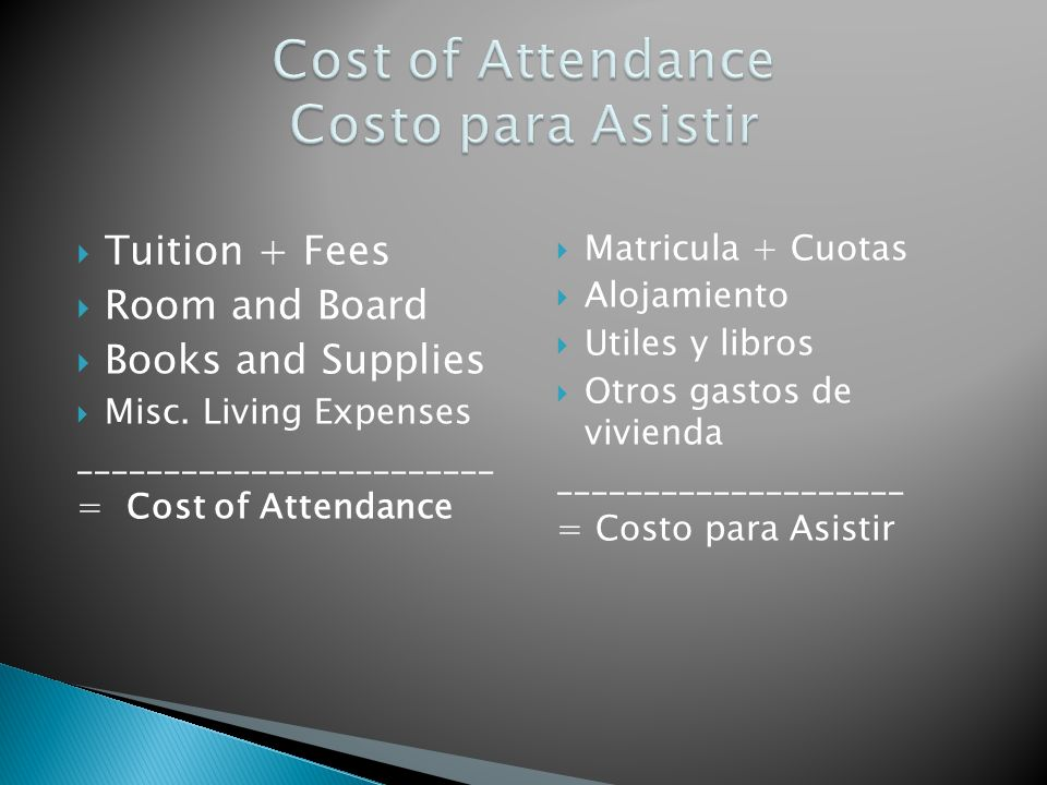 Tuition + Fees Room and Board Books and Supplies Misc. Living Expenses ________________________ = Cost of Attendance Matricula + Cuotas Alojamiento Ut