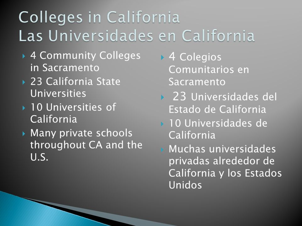 4 Community Colleges in Sacramento 23 California State Universities 10 Universities of California Many private schools throughout CA and the U.S. 4 Co